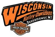 Wisconsin Harley-Davidson 2D Die-Cast Dealer Pin, Black & Orange W PIN - Wisconsin Harley-Davidson