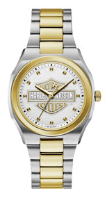 Harley-Davidson Women's Bar & Shield Silver & Gold Stainless Steel Watch 78L129 - Wisconsin Harley-Davidson