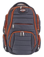 Harley-Davidson Quilted Multi-Zippered Pocket Backpack 99319 GRAY/RUST - Wisconsin Harley-Davidson