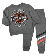 Harley-Davidson Baby Boys' 2-Piece French Terry Jogger Set, Gray 2050896 - Wisconsin Harley-Davidson