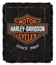 Harley-Davidson Industrial Jacquard Throw Blanket, 46 x 60 inch NW077390 - Wisconsin Harley-Davidson