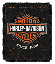 Harley-Davidson Industrial Jacquard Throw Blanket, 46 x 60 inch NW077390 - Wisconsin Harley-Davidson