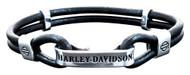 Harley-Davidson Women's Black Leather Double Hook Plate Bracelet HDB0348 - Wisconsin Harley-Davidson