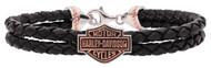 Harley-Davidson Women's Rose Gold Double Braided Leather Bracelet HDB0372 - Wisconsin Harley-Davidson