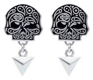Harley-Davidson Women's Paisley Skull & Triangle Post Earrings, Silver HDE0420 - Wisconsin Harley-Davidson