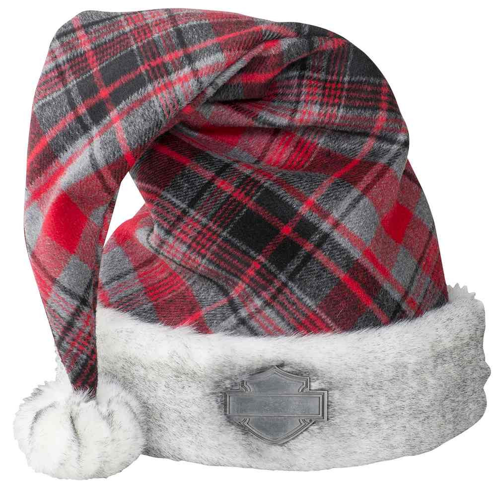 de4a2bbb418b5 Harley-Davidson Winter Holiday Santa Hat - Red Plaid w  Satin Lining HDX-