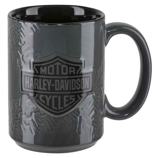 Harley-Davidson Sculpted Tire Tread Coffee Mug, 15 oz. - Gray HDX-98614 - Wisconsin Harley-Davidson