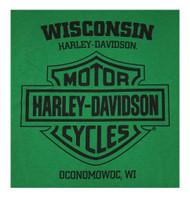 Harley-Davidson Men's Lucky Bold  H-D Short Sleeve Crew Neck T-Shirt, Green - Wisconsin Harley-Davidson