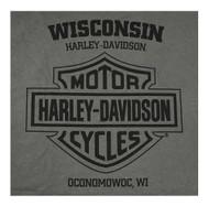 Harley-Davidson Men's Stoned Chest Pocket Short Sleeve Tee - Charcoal Gray - Wisconsin Harley-Davidson