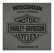 Harley-Davidson Men's Stoned Chest Pocket Short Sleeve Tee - Charcoal Gray - Wisconsin Harley-Davidson