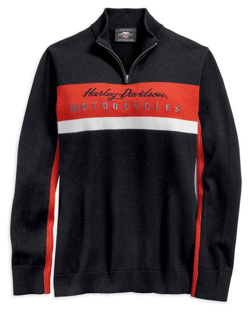 Harley-Davidson Women's 1/4 Zip Long Sleeve Colorblocked Ski Sweater 96392-19VW - Wisconsin Harley-Davidson