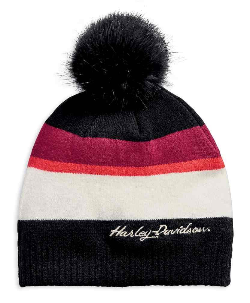 2e8efbc1a Harley-Davidson® Women's Striped Pom Colorblock H-D Script Knit Hat  97745-19VW