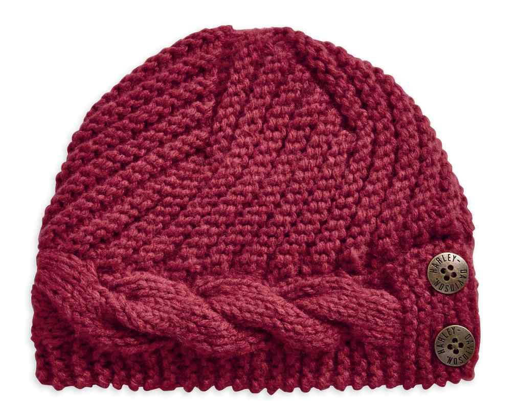e7b3a790 Harley-Davidson Women's Chunky Knit Winter Beanie Hat, Dark Pink 97736-19VW  -