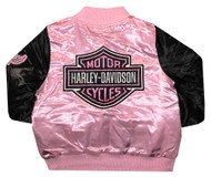 Harley-Davidson Little Girls' Satin Bomber Jacket, Pink & Black 6034847 - Wisconsin Harley-Davidson