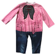 Harley-Davidson Baby Girls' Biker Knit Long Sleeve Coveralls, Pink 3004813 - Wisconsin Harley-Davidson