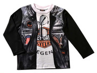 Harley-Davidson Little Boys' Biker Knit Long Sleeve Tee, Black 1084807 - Wisconsin Harley-Davidson