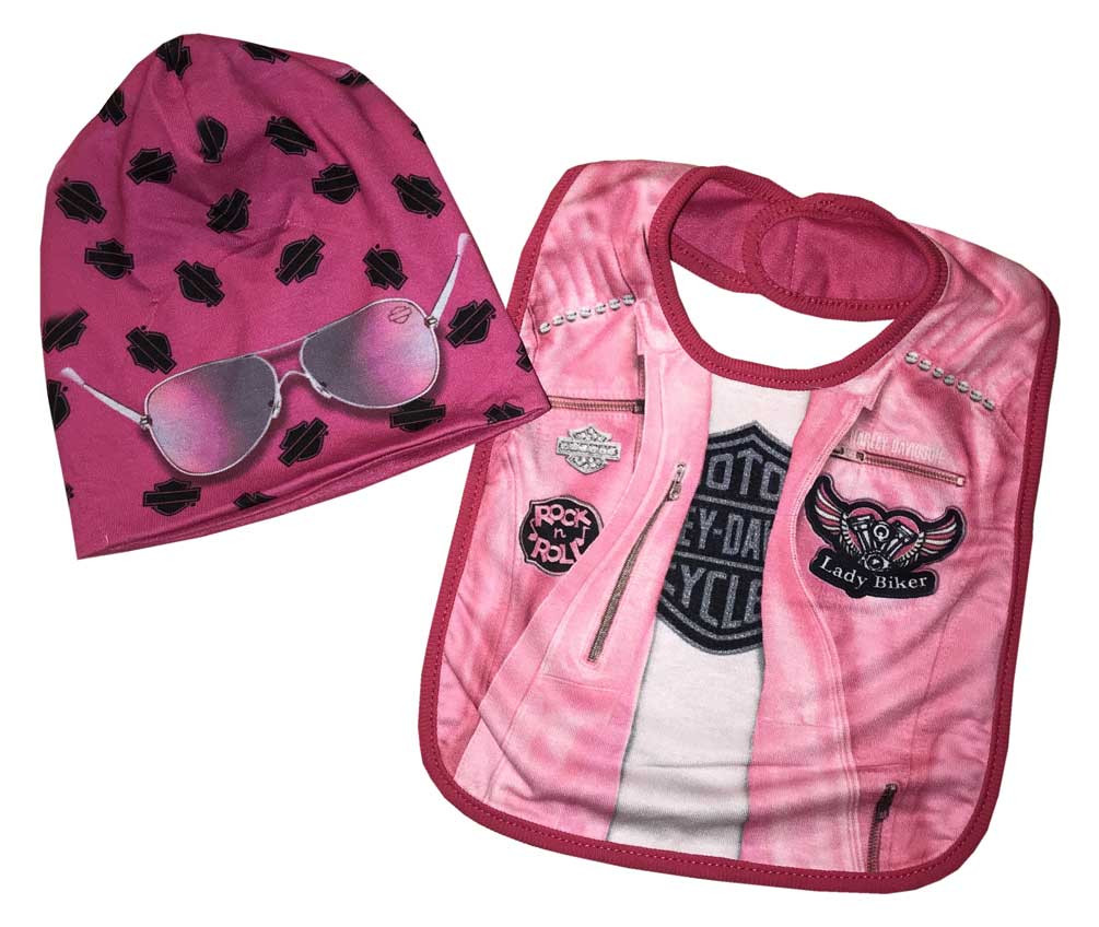 557c845a3d7 Harley-Davidson Baby Girls  Biker Knit Newborn Bib   Slouchy Beanie Pink  7004811 -