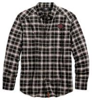 Harley-Davidson Men's Herringbone Button-Down Plaid Long Sleeve Shirt 96584-19VM - Wisconsin Harley-Davidson