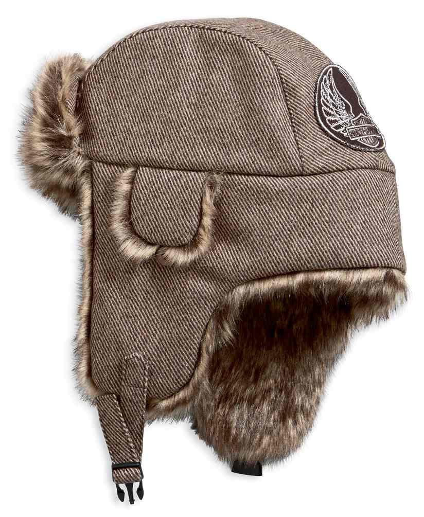 Harley-Davidson Men s Aviator Style Winter Hat w  Faux Fur Trim 97807-19VM e8d8af88dd2