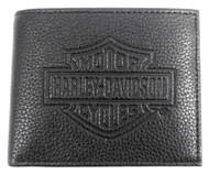 Harley-Davidson Mens B&S Embossed Pocketed Billfold Leather Wallet MSB8361-BLACK - Wisconsin Harley-Davidson