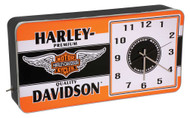 Harley-Davidson Winged Bar & Shield LED Vintage Ad Metal Clock HDL-16641 - Wisconsin Harley-Davidson