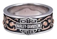 Harley-Davidson Women's Herald B&S Band Ring w/ Rose Gold Plating HDR0397 - Wisconsin Harley-Davidson