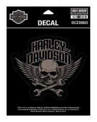 Harley-Davidson Wrenched Skull Decal, MD Size - 5.5 x 4.75 inches DC230803 - Wisconsin Harley-Davidson