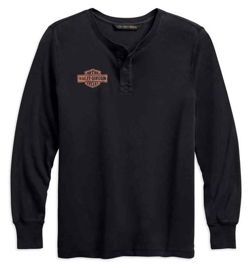 Harley-Davidson Men's Laser Cut Graphic Slim Fit Long Sleeve Shirt 99202-19VM - Wisconsin Harley-Davidson