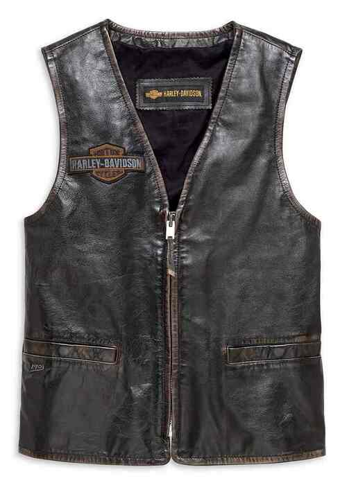 Harley-Davidson Men's Eagle Distressed Slim Fit Leather Vest, Black 98078-19VM - Wisconsin Harley-Davidson