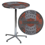 Harley-Davidson Distressed B&S Motorcycles Round Cafe Table, Chrome HDL-12330 - Wisconsin Harley-Davidson