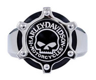 Harley-Davidson Men's Willie G Skull Gear Ring, Stainless Steel HSR0028 - Wisconsin Harley-Davidson