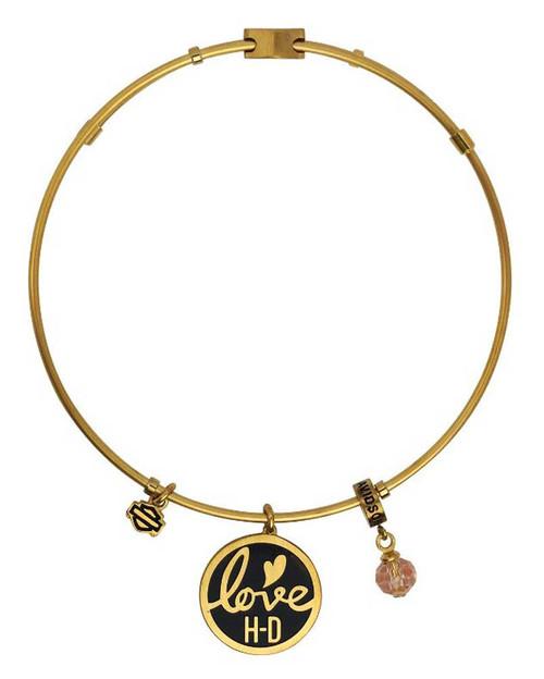 Harley Davidson Charm Bracelet: Harley-Davidson® Women's Gold Tone Love Charm Bangle
