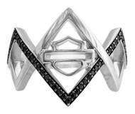 Harley-Davidson Women's Diamond Festival Ring w/ Black Cubic Zirconia HDR0450 - Wisconsin Harley-Davidson