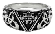 Harley-Davidson Men's Celtic B&S Triangle Ring, Sterling Silver HDR0454 - Wisconsin Harley-Davidson