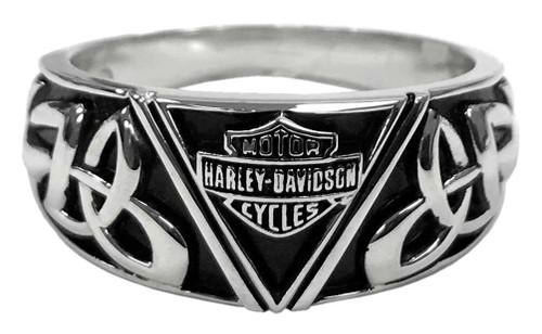 Harley-Davidson Men's Celtic B&S Triangle Ring, Sterling Silver HDR0454 - Wisconsin Harley-Davidson