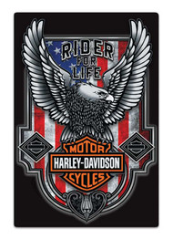 Harley-Davidson Rider For Life Embossed Flag Tin Sign, 12 x 18 inches 2012041 - Wisconsin Harley-Davidson