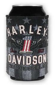 Harley-Davidson RWB #1 Wings Neoprene Can Flat Wrap, Red White & Blue CF33884 - Wisconsin Harley-Davidson
