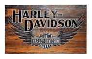Harley-Davidson Distressed B&S Winged Wooden Sign W/ Domed Tacks W2-WNG-HARL - Wisconsin Harley-Davidson