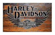 Harley-Davidson Distressed B&S Winged Wooden Sign W/ Domed Tacks W2-WNG-HARL - Wisconsin Harley-Davidson