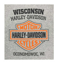 Harley-Davidson Men's Bar & Shield Long Sleeve Crew-Neck Shirt, Gray 30297501 - Wisconsin Harley-Davidson