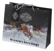 Harley-Davidson Winter Biker Santa Large Gift Bag, Matte Finish HDX-90008 - Wisconsin Harley-Davidson