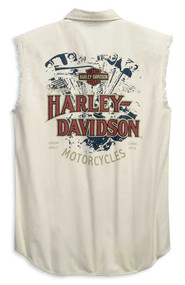 Harley-Davidson Mens Engine Print Blowout Sleeveless Shirt, Off-White 96646-19VM - Wisconsin Harley-Davidson