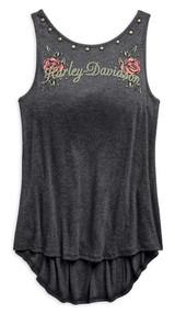 Harley-Davidson Women's Low Back Studded Sleeveless Modal Tank, Gray 96716-19VW - Wisconsin Harley-Davidson
