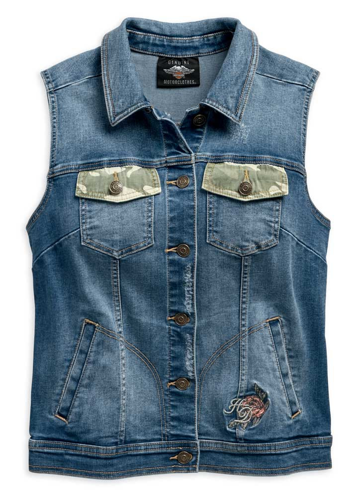ad177ce2c2286 Harley-Davidson® Women's Camo & Studs Accent Distressed Denim Vest ...