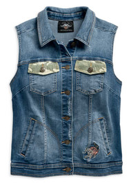 Harley-Davidson Women's Camo & Studs Accent Distressed Denim Vest 96749-19VW - Wisconsin Harley-Davidson