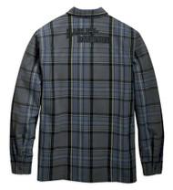 Harley-Davidson Men's Snap-Front Plaid Long Sleeve Shirt Jacket, Blue 96637-19VM - Wisconsin Harley-Davidson