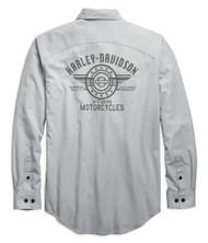 Harley-Davidson Men's Performance Micro-Perf Long Sleeve Shirt, Gray 96638-19VM - Wisconsin Harley-Davidson