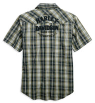Harley-Davidson Men's Snap-Front Plaid Short Sleeve Woven Shirt 96640-19VM - Wisconsin Harley-Davidson
