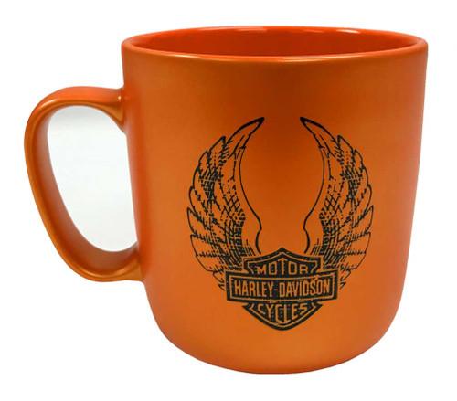 Harley-Davidson Winged B&S Orange Luster Finish Coffee Cup, 18 oz. 3OPM4900 - Wisconsin Harley-Davidson