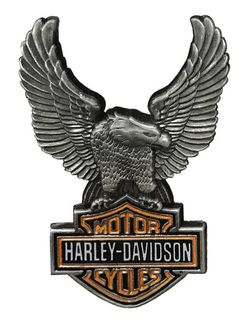 Harley-Davidson 1.5 in. Up-Winged Eagle Bar & Shield Pin, Antique Finish 8008864 - Wisconsin Harley-Davidson